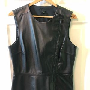 Theory Leather Sleeveless Asymmetric Peplum Top